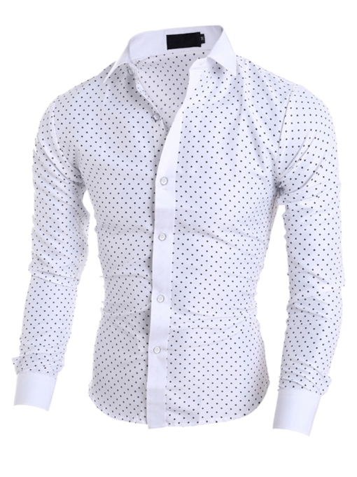 Lapel Star Dot Print Slim Men's Dress Shirt