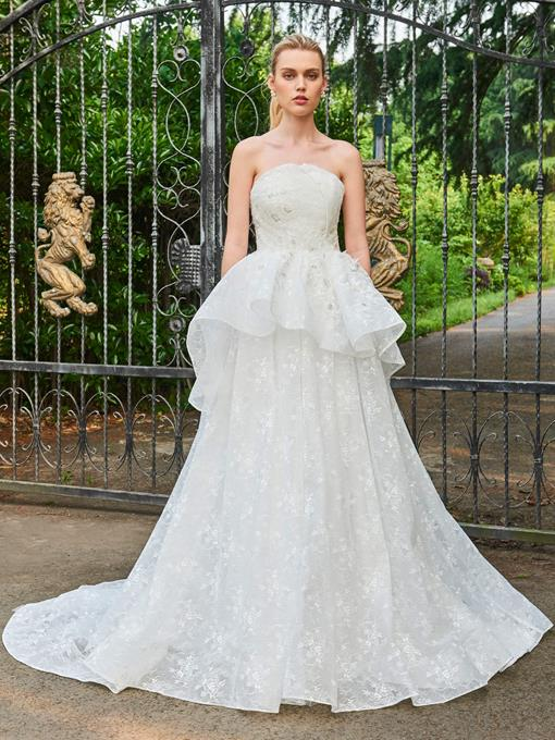Lace Strapless Zipper-Up Floor-Length Wedding Dress