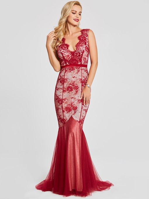 V Neck Backless Lace A Line Evening Dress