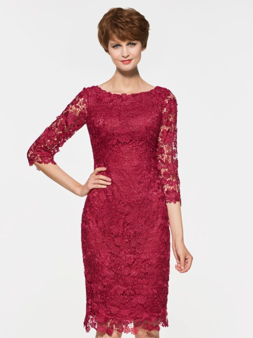 Lace Half Sleeves Sheath Mother Of The Bride Dress