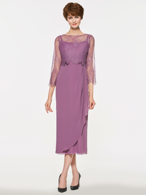 Sheath Lace Tea-Length Mother Dress