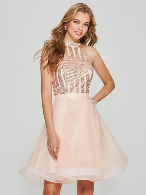 A-Line Sequins Backless Halter Short Homecoming Dress