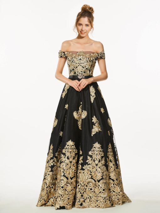 Off-the-Shoulder Appliques Beading Prom Dress