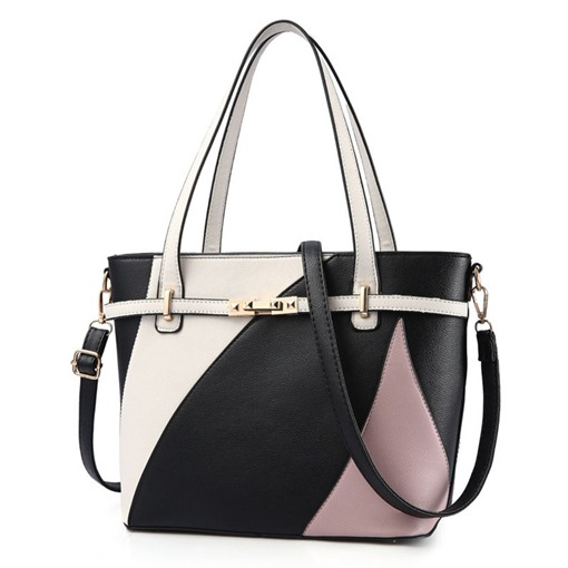 Concise Color Block PU Tote Bag