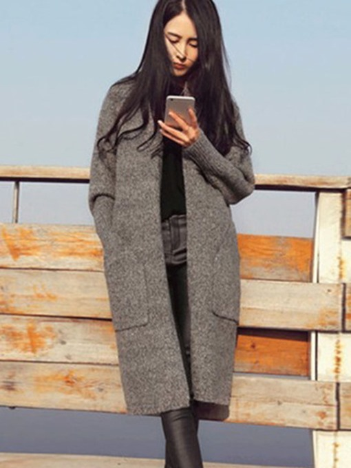 Plain Long Loose Pockets Sweater Women's Cardigan