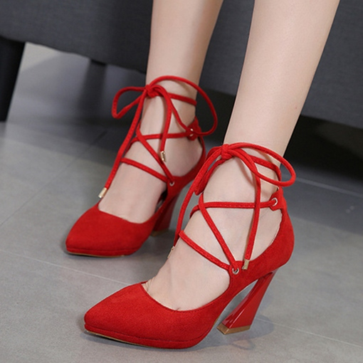 Horse-Shoe Heel Lace-Up Suede Banquet Women's Prom Pumps