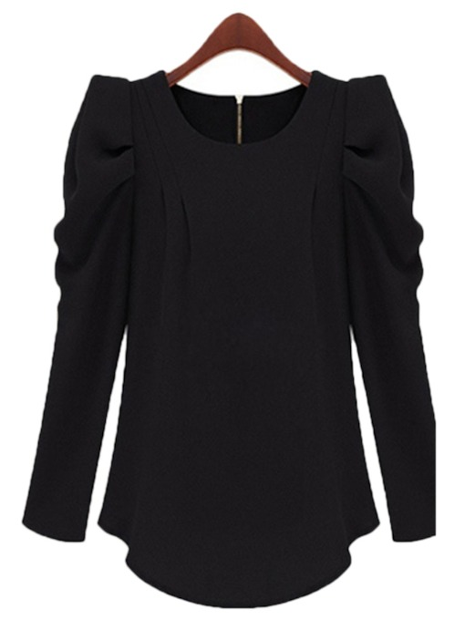 Irregular Hemline Puff Sleeve Women's Blouse