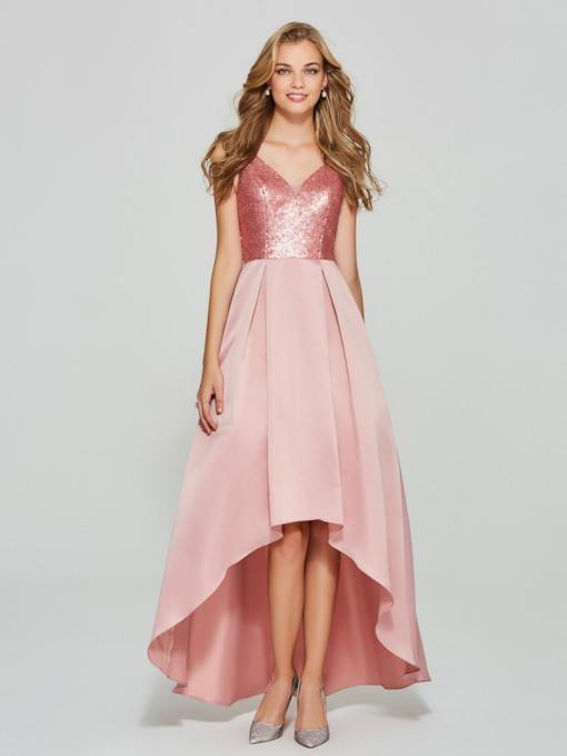 A-Line V-Neck Sequins Asymmetry Homecoming Dress