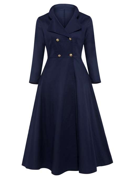 Blue Lapel Double-Breasted Women's Maxi Dress