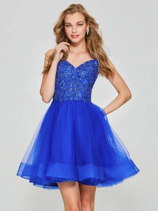 A-Line Spaghetti Straps Appliques Beading Short Homecoming Dress