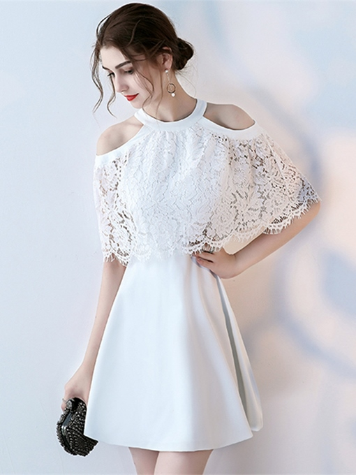 A-Line Jewel Lace Half Sleeves Short Homecoming Dress