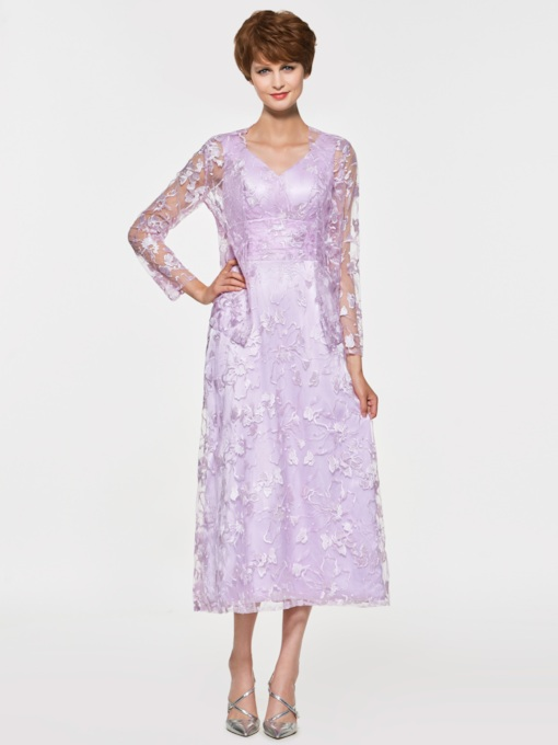 Tea-Length Lace Mother of the Bride Dress with Jacket