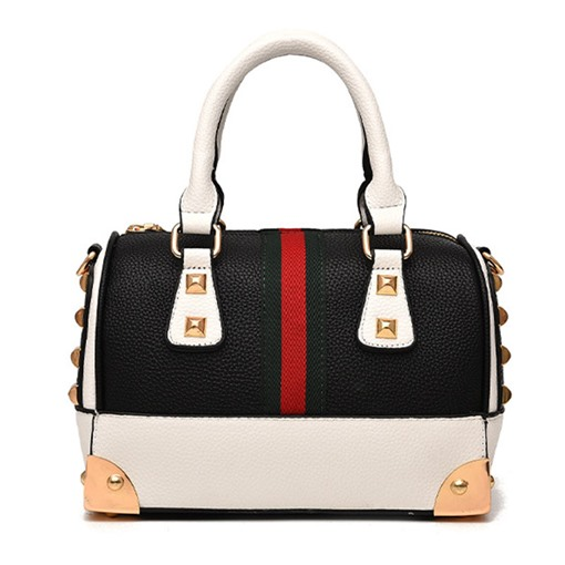 Vogue Color Block Rivet Women Tote Bag