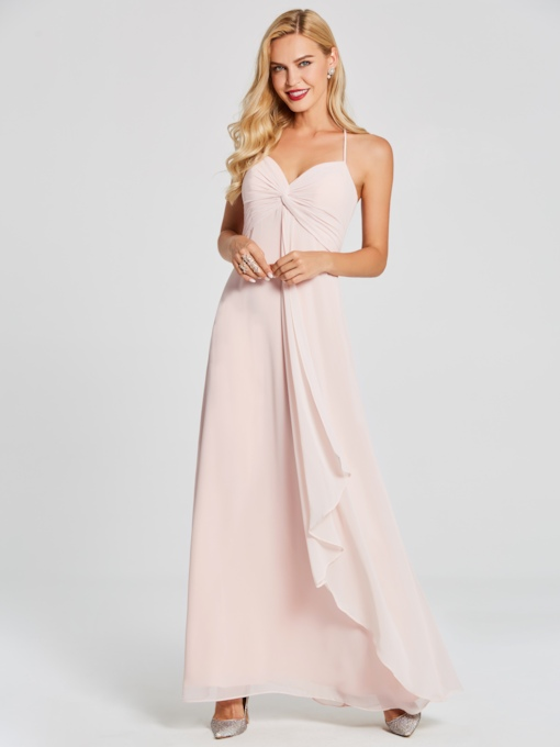 Halter Pleats A-Line Long Bridesmaid Dress