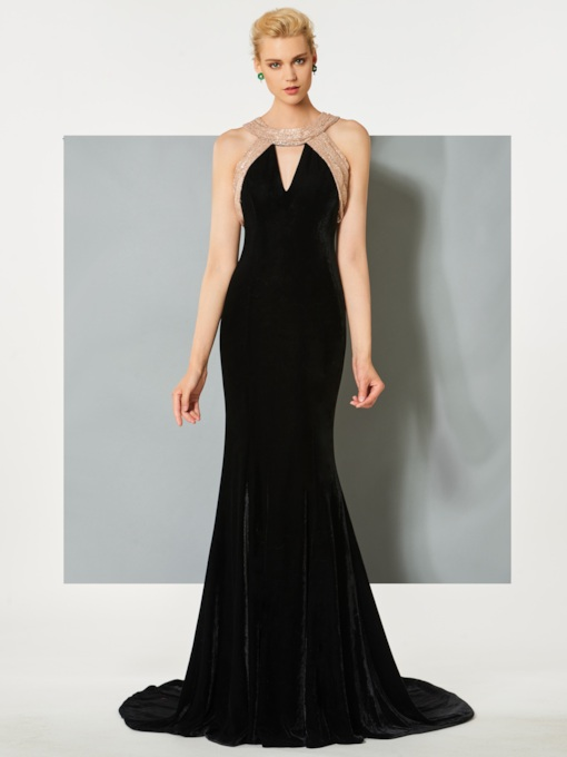 Scoop Mermaid Velvet Hollow Floor-Length Evening Dress