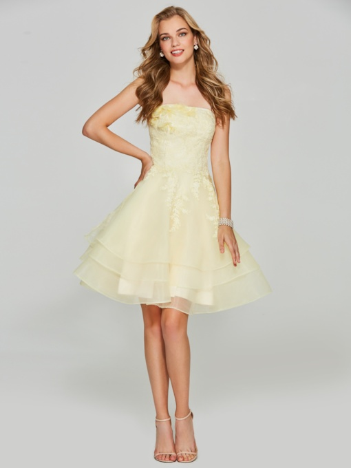 Tiered Appliques Strapless Yellow Homecoming Dress