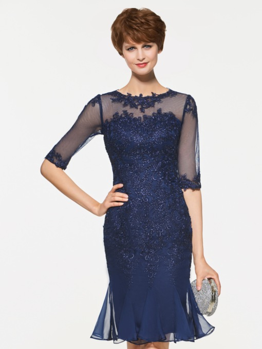 Appliques Half Sleeve Sheath Mother Of The Bride Dress