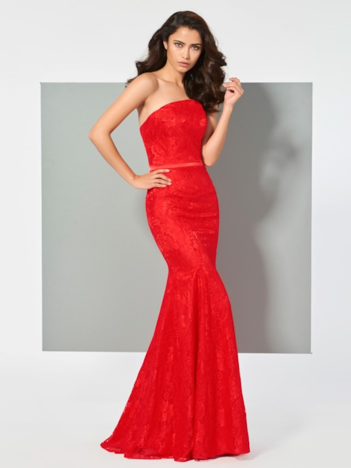Mermaid Lace Sashes Strapless Floor-Length Evening Dress