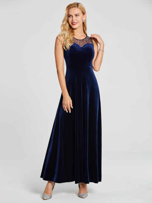 V Neck Sleeveless Beaded Velvet A Line Evening Dress