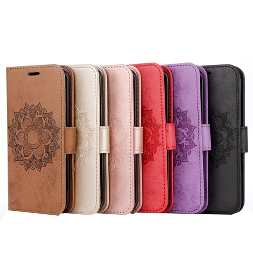 iPhone 7/7plus Galaxy S7 Case Wallet,Datura Embossed Phone Shell with Stand