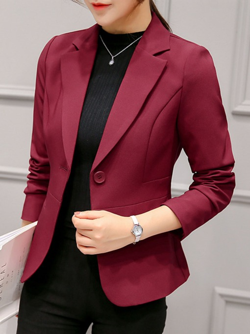 Short Notched Lapel One Button Women's Blazer