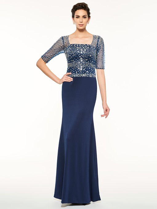 Square Neck Half Sleeves Beading Mother Of The Bride Dress
