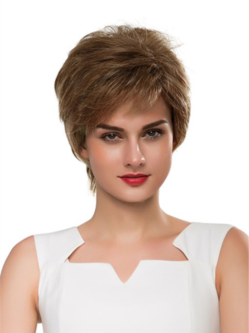 Short Straight Layered Cool Human Hair Capless Wig 8 Inches