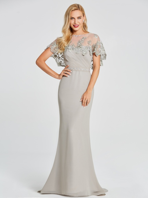 Mermaid Scoop Cap Sleeves Beading Lace Floor-Length Evening Dress