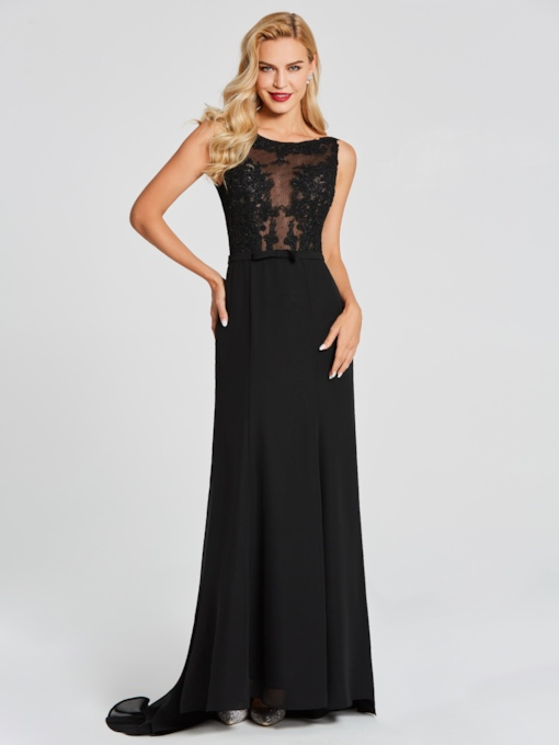 Scoop Trumpet Lace Backless Hollow Floor-Length Evening Dress
