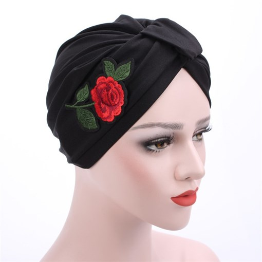 Rose Pattern Cotton Applique Turban Hats
