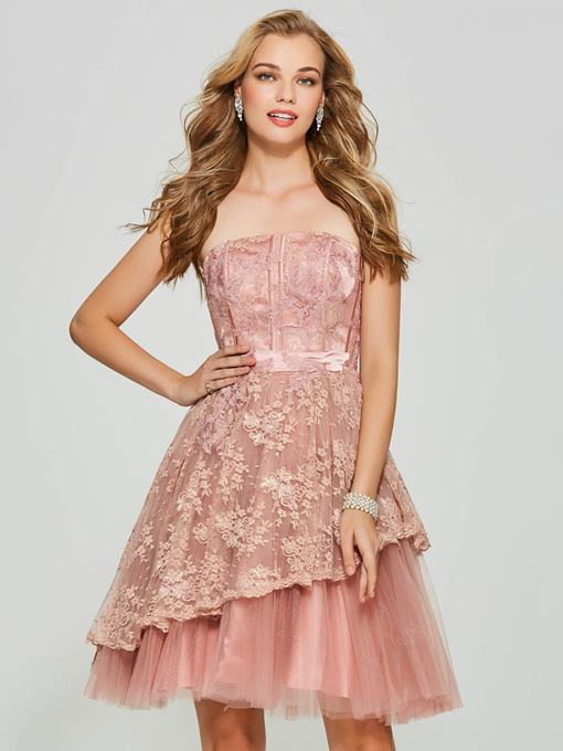 A-Line Strapless Lace Backless Short Homecoming Dress