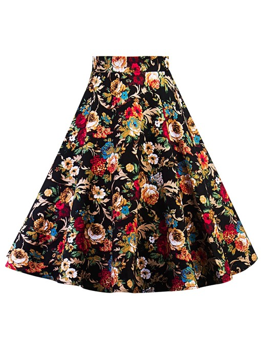 Floral Print High Waist Women's Skirt