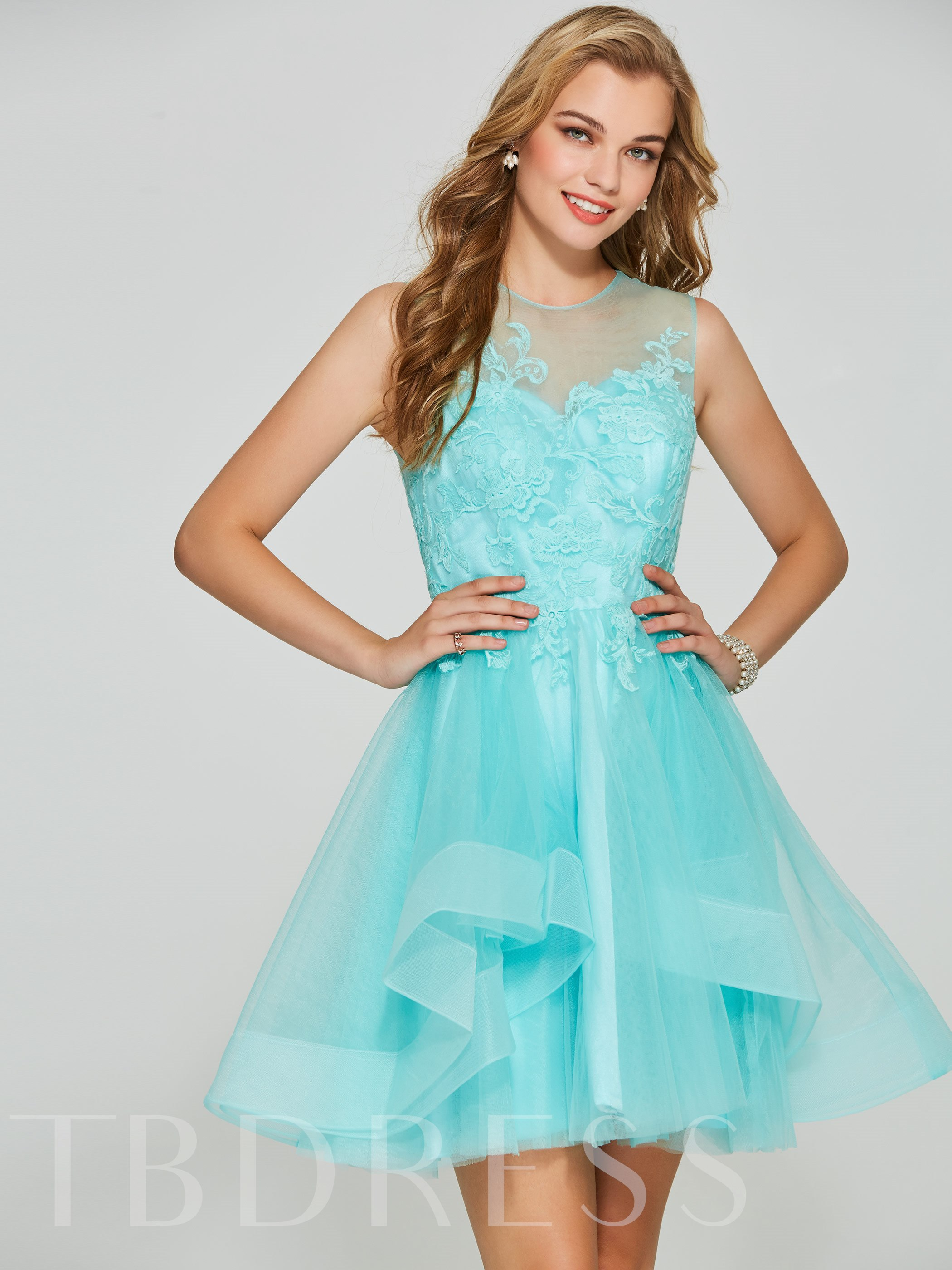 Image of A-Line Appliques Scoop Short Homecoming Dress