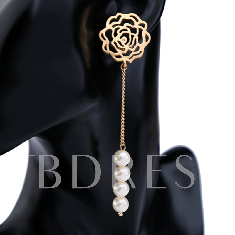 Flower Shaped Hollow Out Pearl Link Chain Earrings