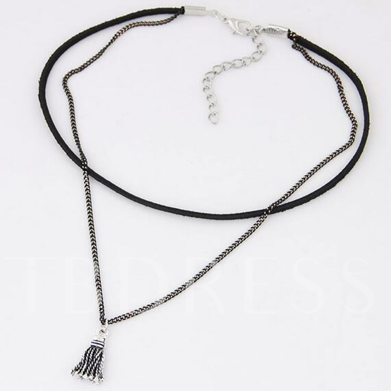 Tassel Link Chain Alloy Torques Double Choker Necklace