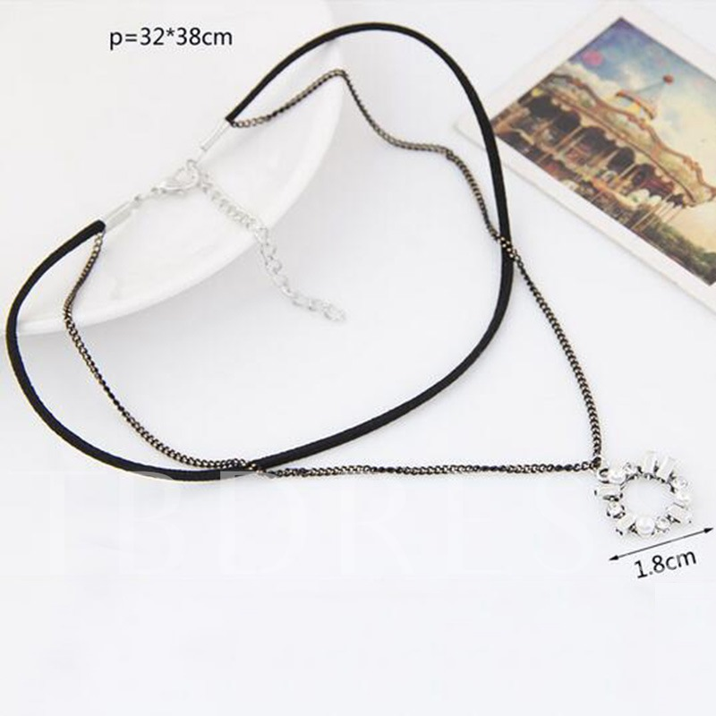 Zircon Inlaid Black Rope Alloy Torques Choker Necklace