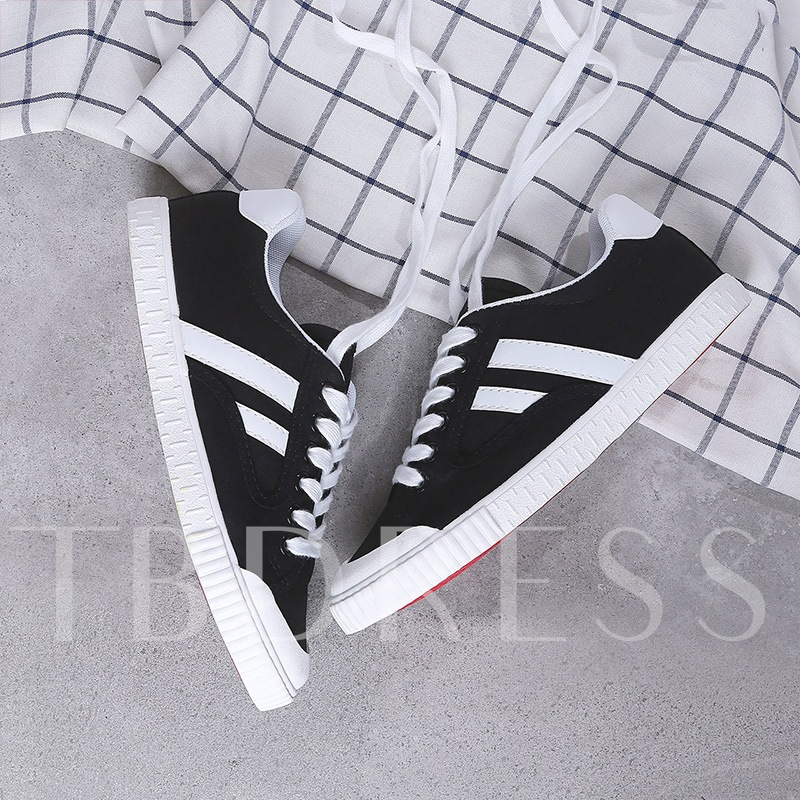 Canvas Color Block Patchwork White Sneakers