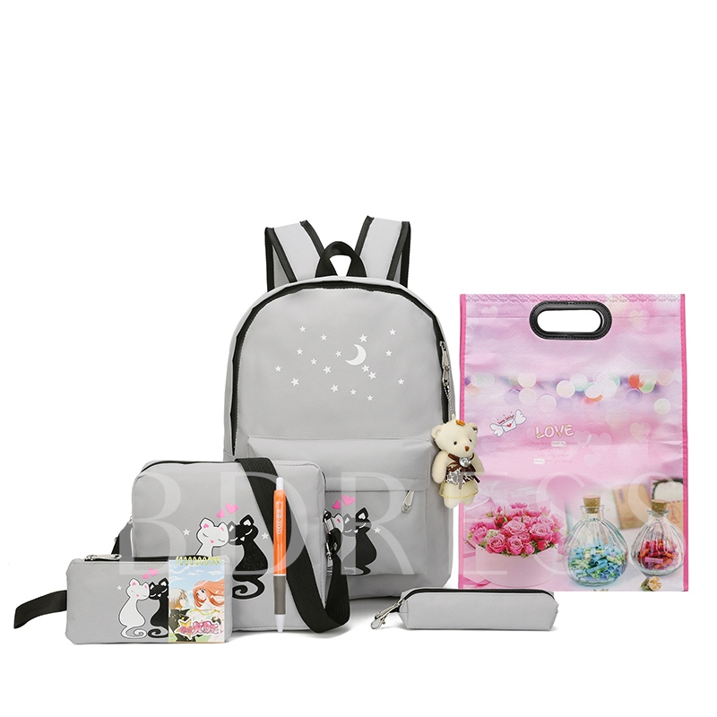 Preppy Chic Cartoon Pattern Four Bag Set