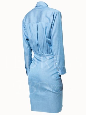 Blue Single-Breasted Women's Shirt Dress