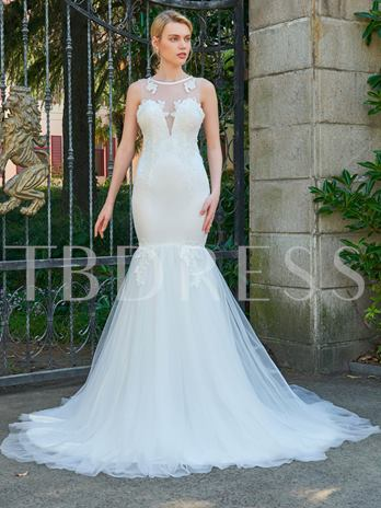 Scoop Neck Appliques Button Court Train Wedding Dress