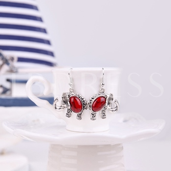 Red Elephant Turquoise Alloy Jewelry Sets