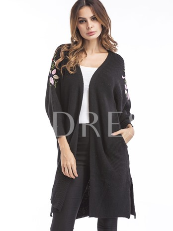Floral Embroidery Prain Women's Cardigan