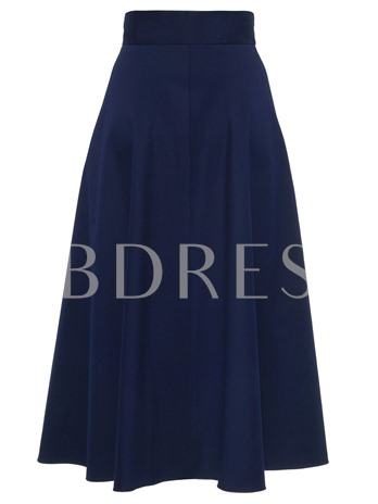 Pure Color Pleated Bead Women' s Skirt