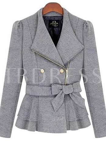 Lapel Bowknot Belt Hemline Women's Jacket