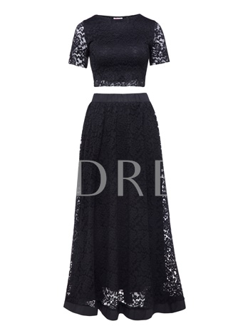 Plain Lace Ankle-Length Women's Skirt Suit