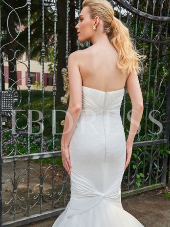Sweetheart Lace Ruched Mermaid Wedding Dress