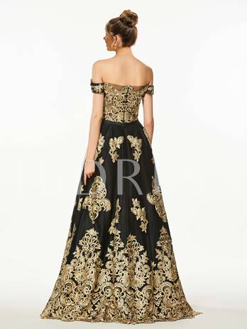 A-Line Off-the-Shoulder Appliques Beading Floor-Length Prom Dress