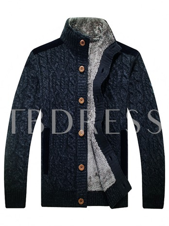 Stand Collar Thicken Warm Loose Men's Cardigan Sweater