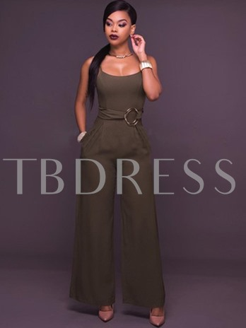 Solid Color Backless Wide Legs Women's Jumpsuit