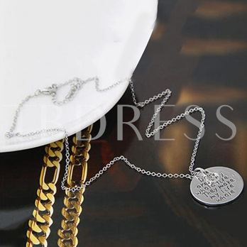 Lettering Circle Link Chain Alloy Pendant Necklace